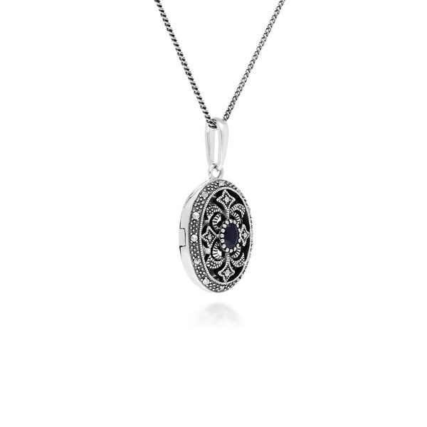 Art Nouveau Style Oval Sapphire & Marcasite Locket Necklace in 925 Sterling Silver