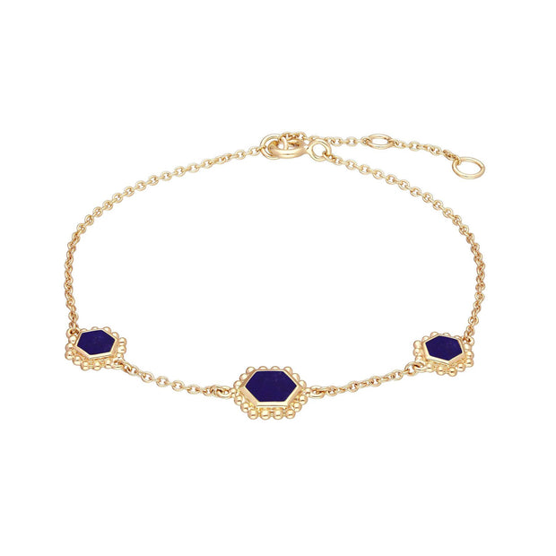 Lapis Lazuli Flat Slice Hex Chain Bracelet in Gold Plated Sterling Silver