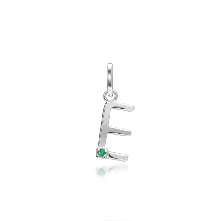 Initial E Emerald Letter Charm in 9ct White Gold