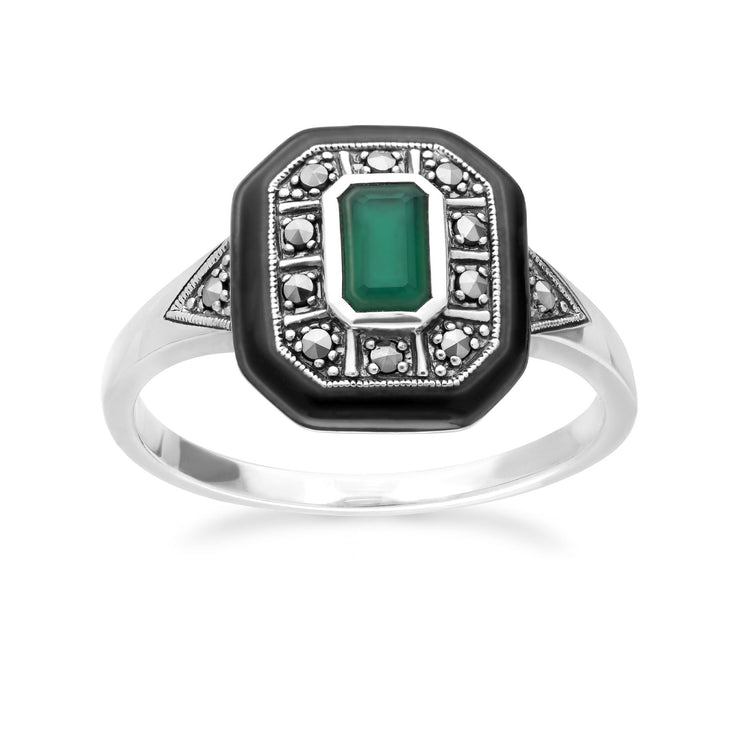 Art Deco Inspired Chalcedony, Enamel & Marcasite Square Ring