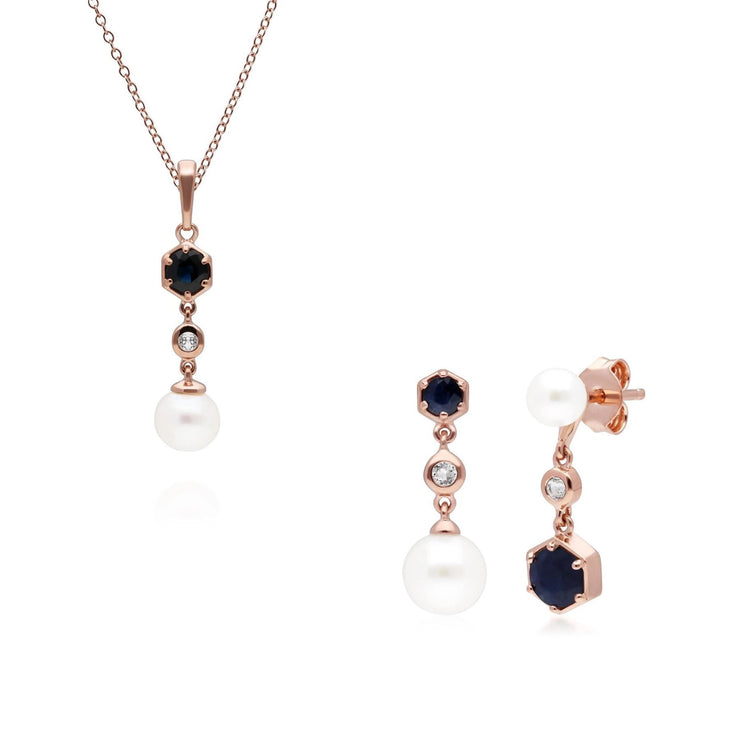 Modern Pearl, Sapphire & Topaz Pendant & Earring Rose Gold Plated Set