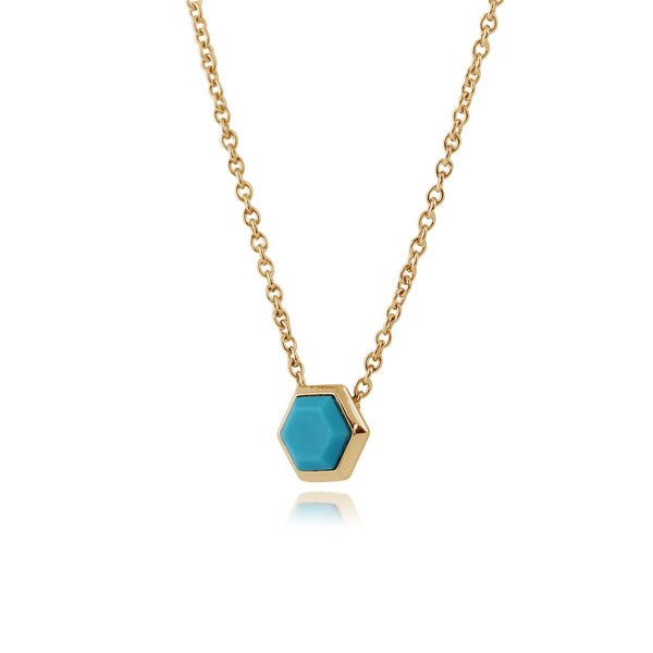 Geometric Hexagon Turquoise Necklace in Gold Plated 925 Sterling Silver