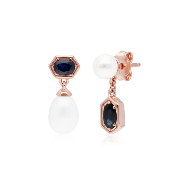 Modern Pearl & Sapphire Mismatched Drop Earrings in Rose Gold Plated Sterling Silver