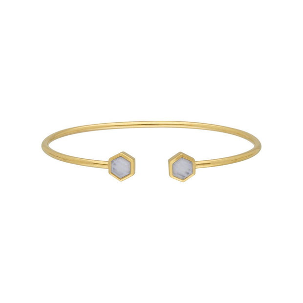 Geometric Hexagon Blue Lace Agate Bangle in Gold Plated Sterling Silver