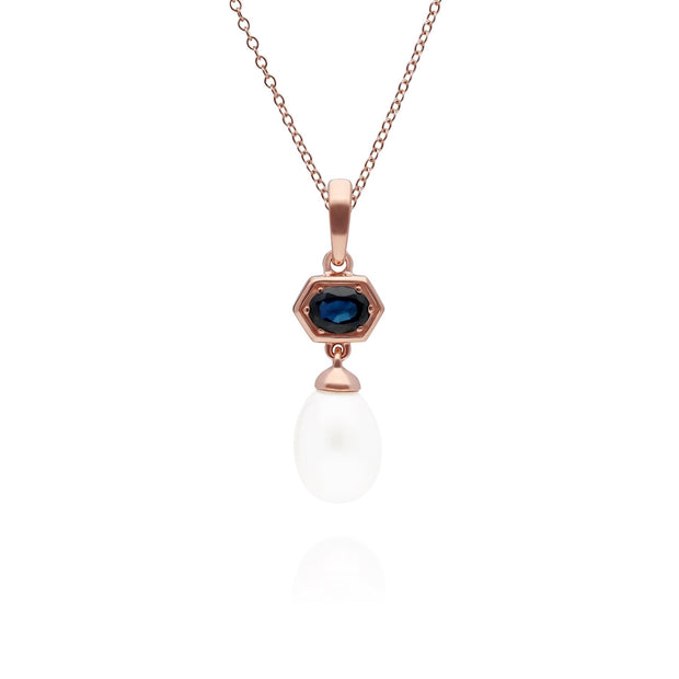 Modern Pearl & Sapphire Drop Pendant in Rose Gold Plated Sterling Silver