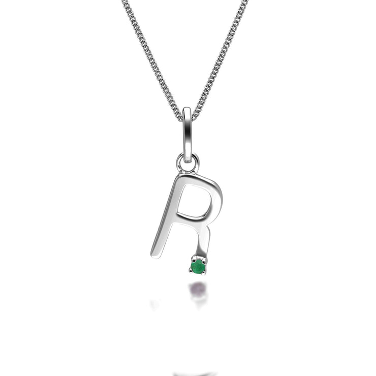 Initial R Emerald Letter Charm Necklace in 9ct White Gold