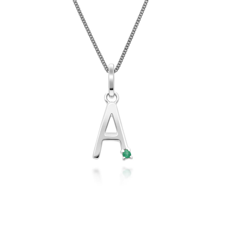 Initial A Emerald Letter Charm Necklace in 9ct White Gold