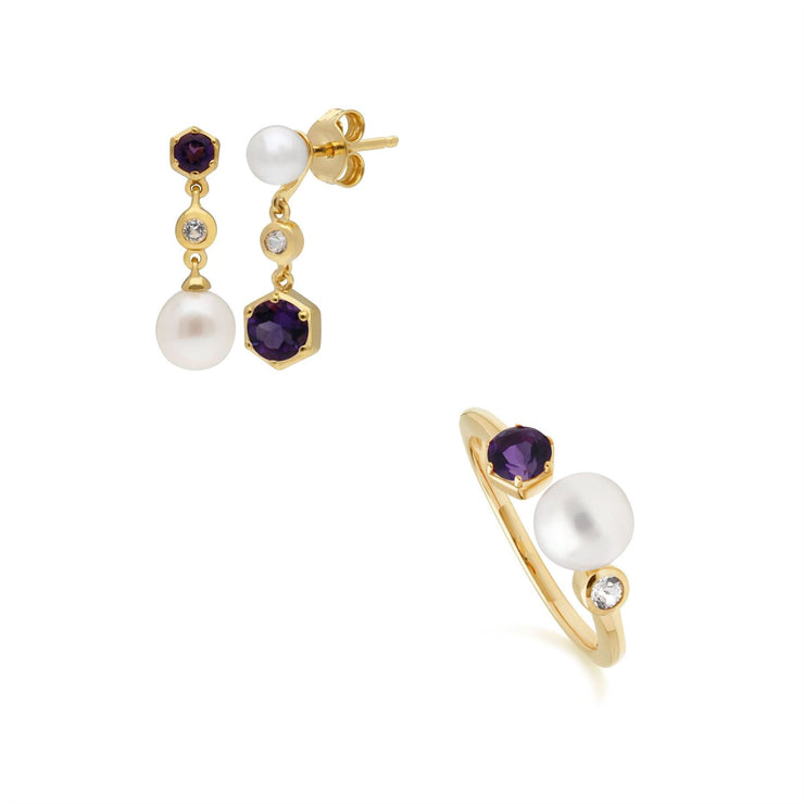 Modern Pearl, Topaz & Amethyst Earring & Ring Set in Gold Plated Sterling Silver