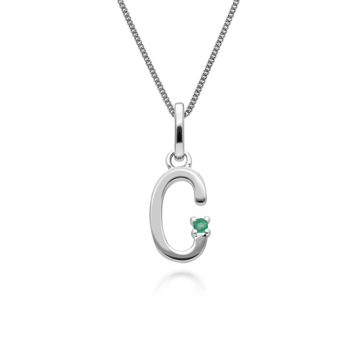 Initial C Emerald Letter Charm Necklace in 9ct White Gold
