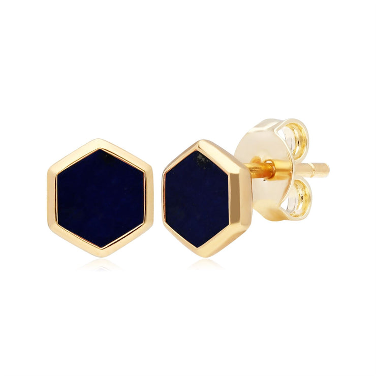 Micro Statement Lapis Lazuli Stud Earrings in Gold Plated 925 Sterling Silver