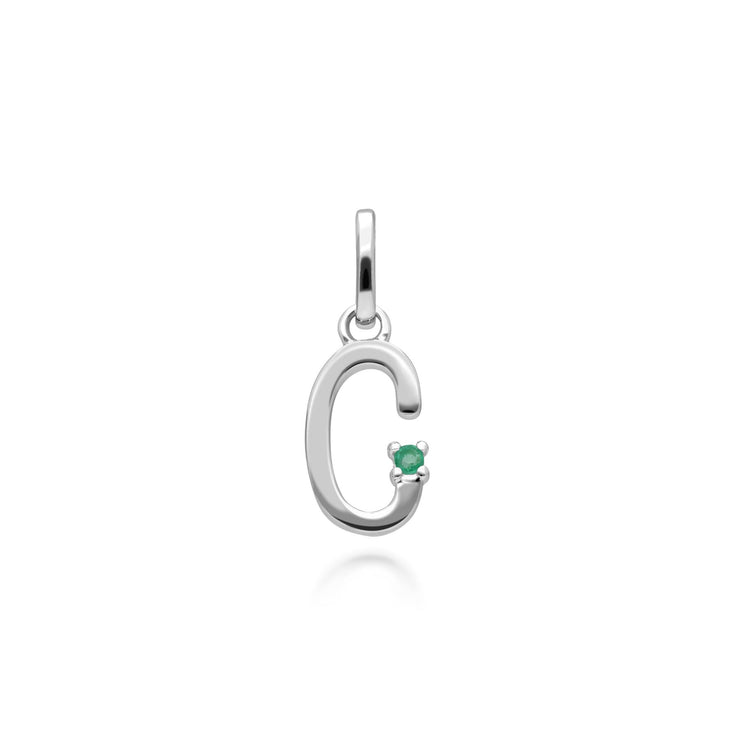 Initial C Emerald Letter Necklace in 9ct White Gold