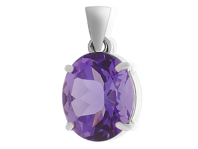 Image of            9ct White Gold 3.67ct 4 Claw Set Amethyst Classic Large Oval Pendant on Chain