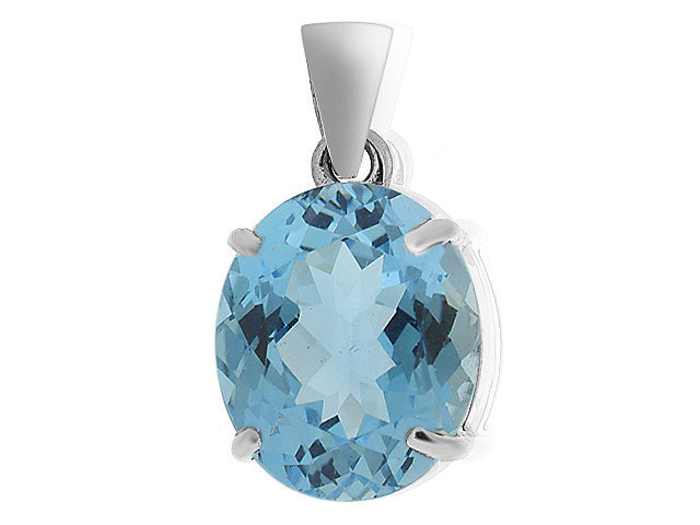 Image of            9ct White Gold 5.00ct Blue Topaz Single Stone Classic Oval Pendant on Chain