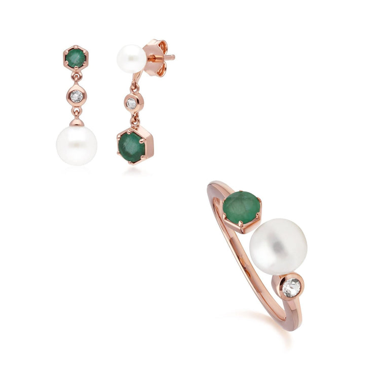 Modern Pearl, Emerald & Topaz Earring & Ring Set in Rose Gold Plated Sterling Silver
