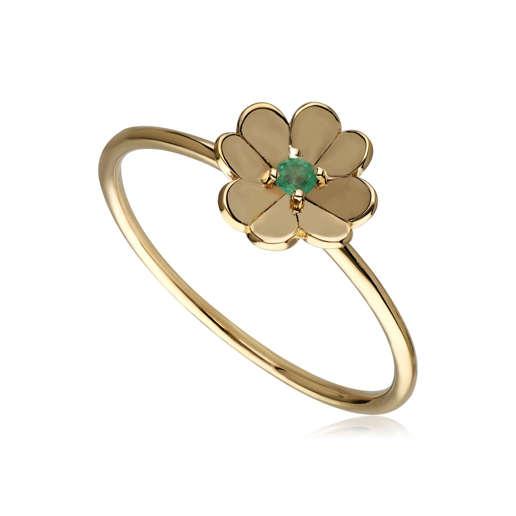 Gardenia Emerald Clover Ring In 9ct Yellow Gold Deal Price £ 109.00