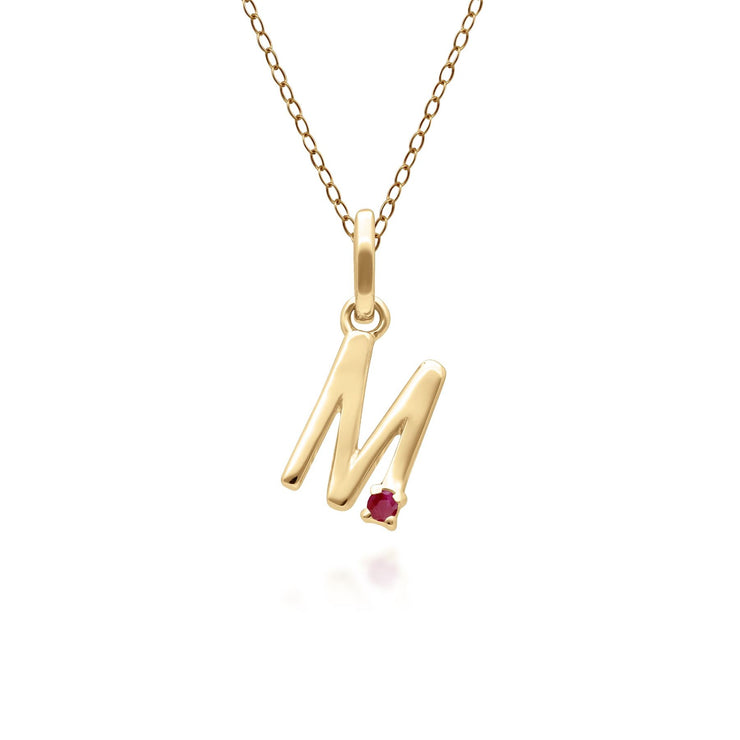Initial M Ruby Letter Necklace in 9ct Yellow Gold