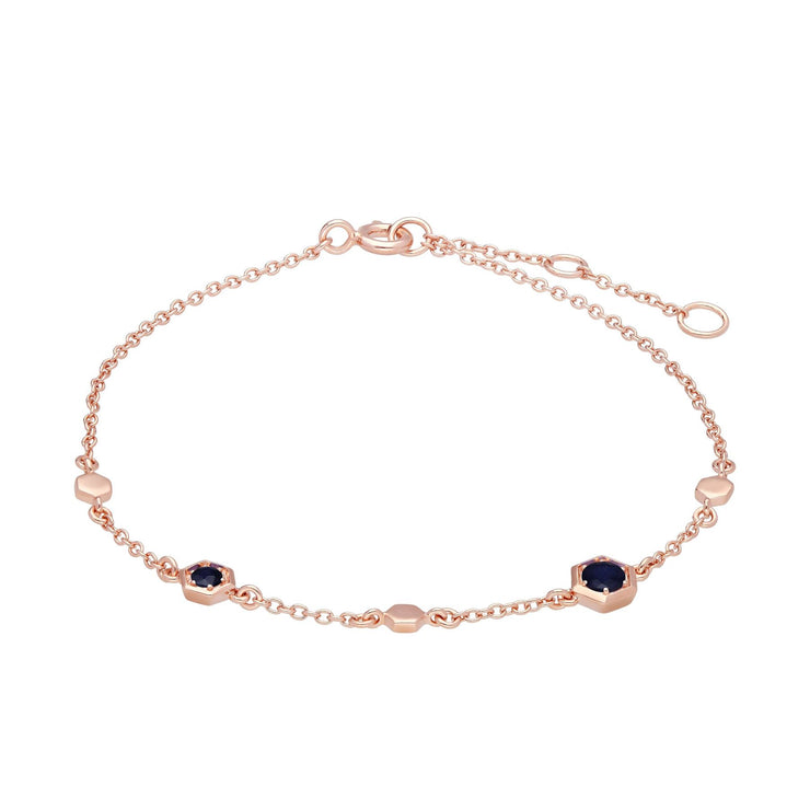 Gemondo Honeycomb Sapphire Link Bracelet in 9ct Rose Gold