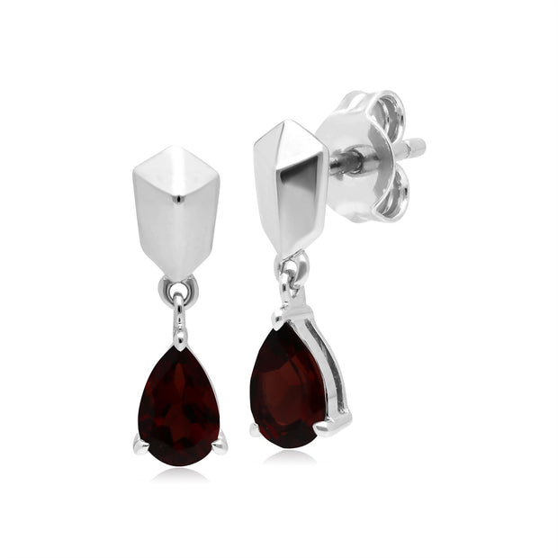 Micro Statement Garnet Earrings in 925 Sterling Silver