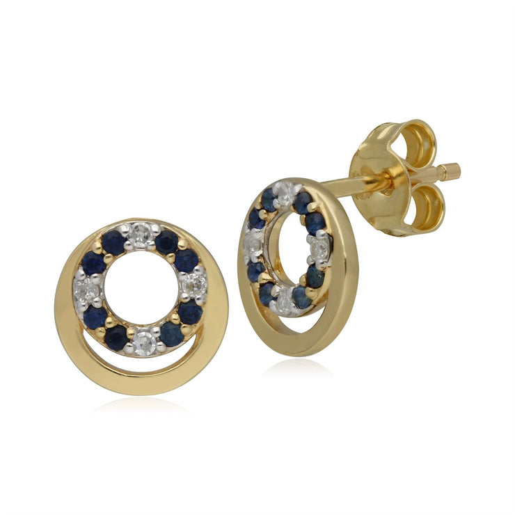 Classic Sapphire & Diamond Circle Stud Earrings in 9ct Yellow Gold