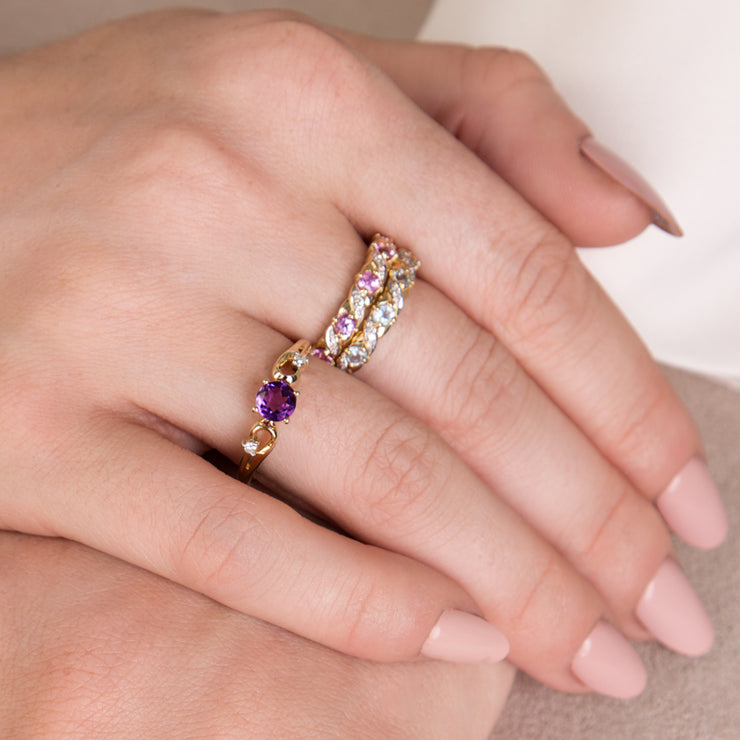 Classic Art Nouveau Style 9ct Yellow Gold Pink Sapphire & Diamond Half Eternity Ring