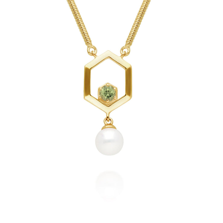 Modern Pearl & Peridot Hexagon Drop Necklace in Gold Plated Sterling Silver