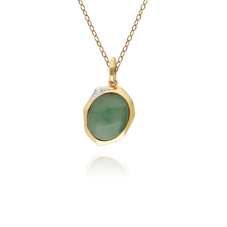 Irregular Dyed Green Jade & Diamond Pendant in Gold Plated Sterling Silver