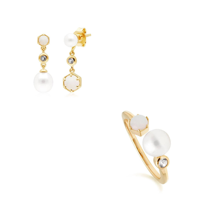 Modern Pearl, Topaz & Opal Earring & Ring Set in Gold Plated Sterling Silver