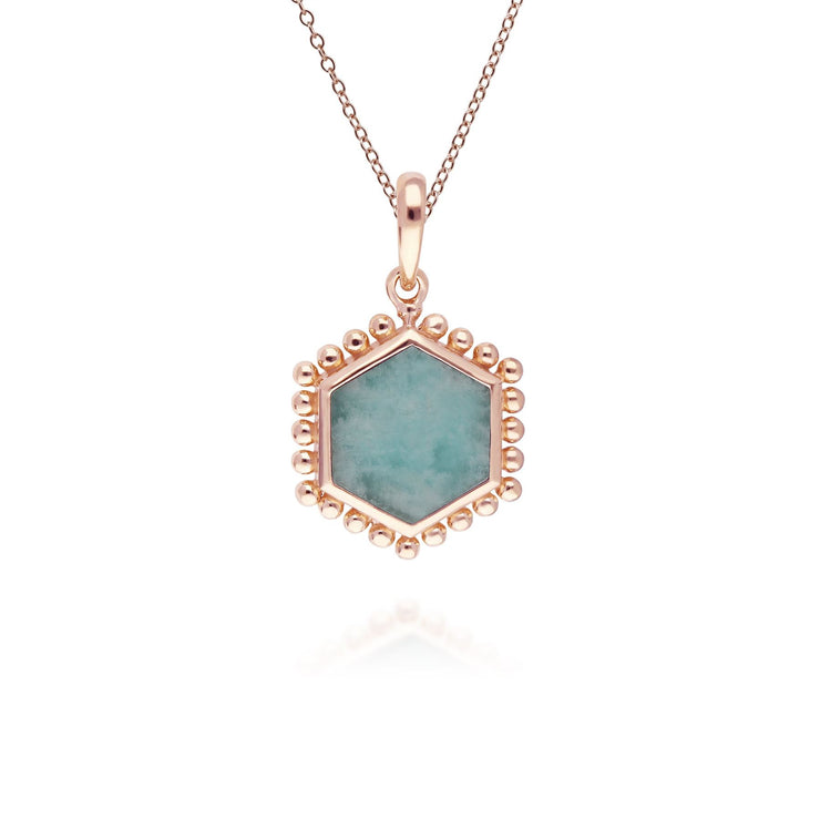 Amazonite Flat Slice Hex Pendant in Rose Gold Plated Silver