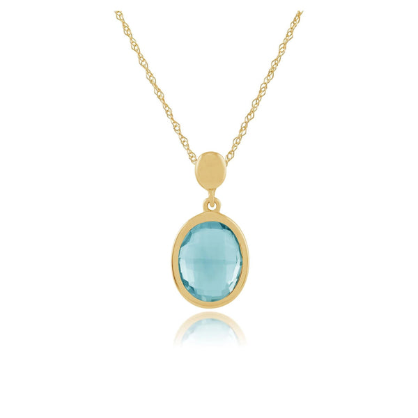 Oval Blue Checkerboard Topaz 9ct Yellow Gold Pendant on Chain