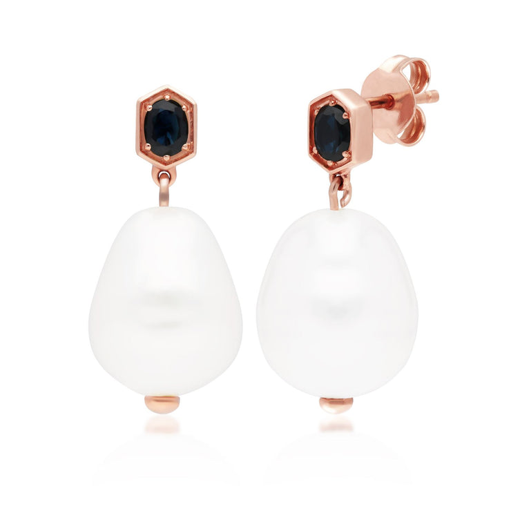 Modern Baroque Pearl & Sapphire Drop Earrings in Rose Gold Plated Sterling Silver