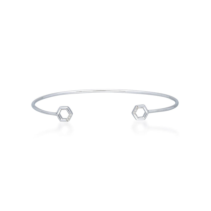 Diamond Pavé Hexagon Open Bangle in 9ct White Gold
