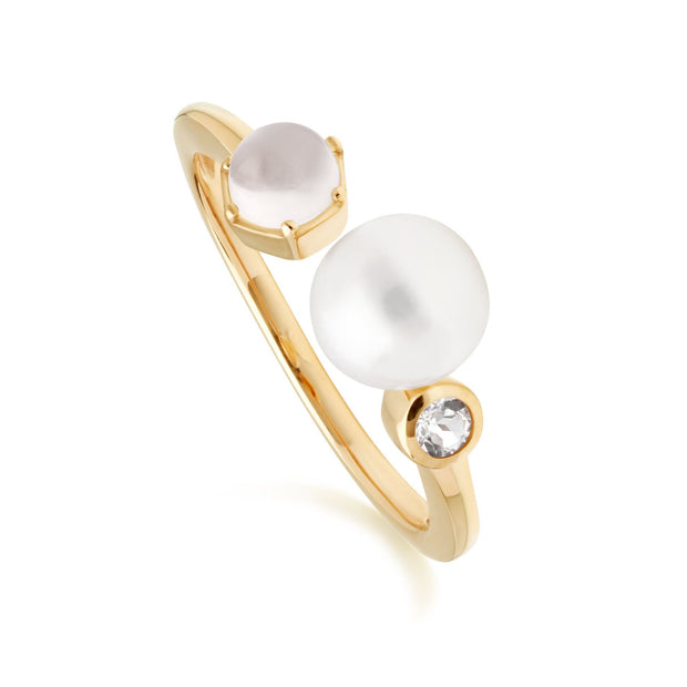 Modern Pearl, Moonstone & White Topaz Open Ring in Gold Plated Sterling Silver