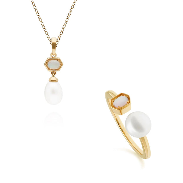 Modern Pearl & Opal Pendant & Ring Set in Gold Plated Sterling Silver