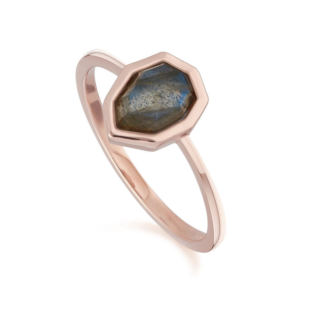 Irregular B Gem Labradorite Ring in Rose Gold Plated Sterling Silver