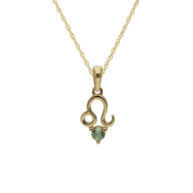 Peridot Leo Zodiac Charm Necklace in 9ct Yellow Gold