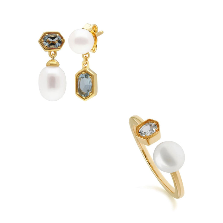 Modern Pearl & Aquamarine Earring & Ring Set in Gold Plated Sterling Silver