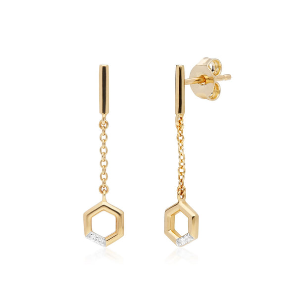 Hexagon Diamond Dangle Drop Earrings in 9ct Yellow Gold