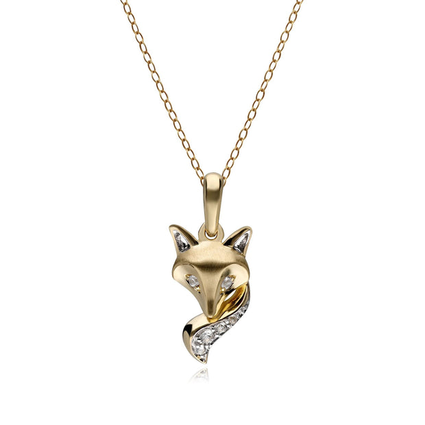 Gemondo Gardenia White Sapphire Fox Pendant in 9ct Brushed Satin Yellow Gold