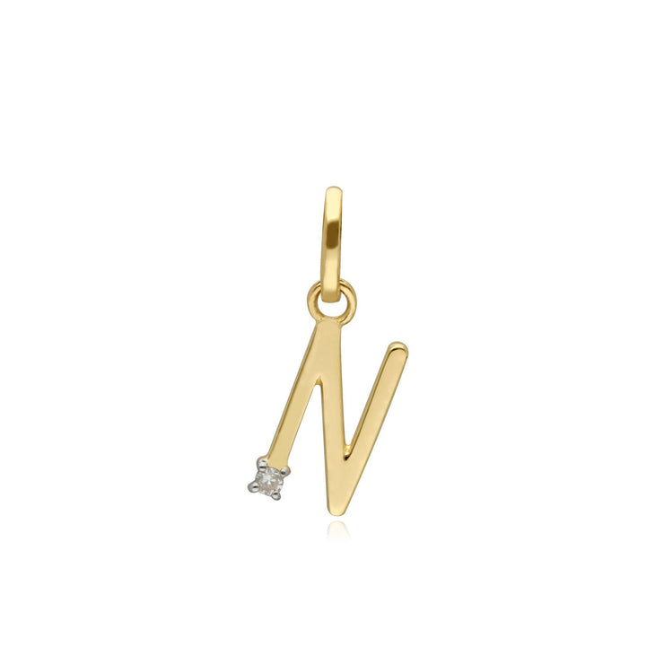 Initial N Diamond Letter Necklace in 9ct Yellow Gold