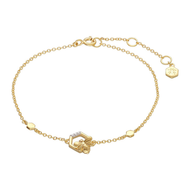 Honeycomb Inspired Bee Bracelet in 9ct Yellow Gold