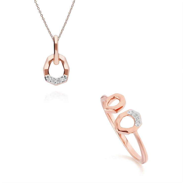 Diamond Pave Asymmetrical Pendant & Ring Set in 9ct Rose Gold