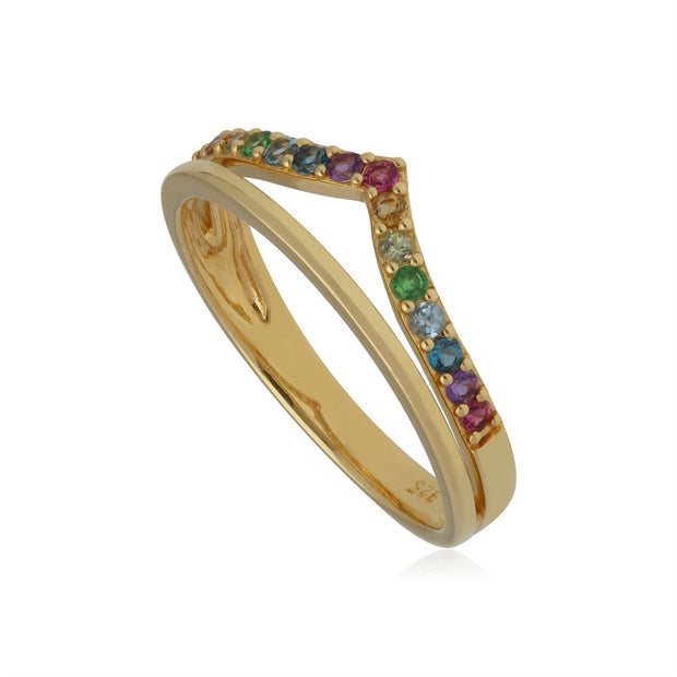 Rainbow Wishbone Style Ring in Gold Plated Sterling Silver
