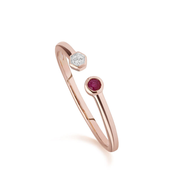Contemporary Ruby & Diamond Geometric Open Ring in 9ct Rose Gold