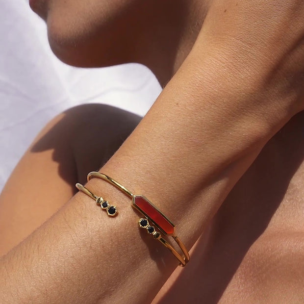 Geometric Prism Dyed Red Carnelian Bangle in Gold Plated Sterling Silver