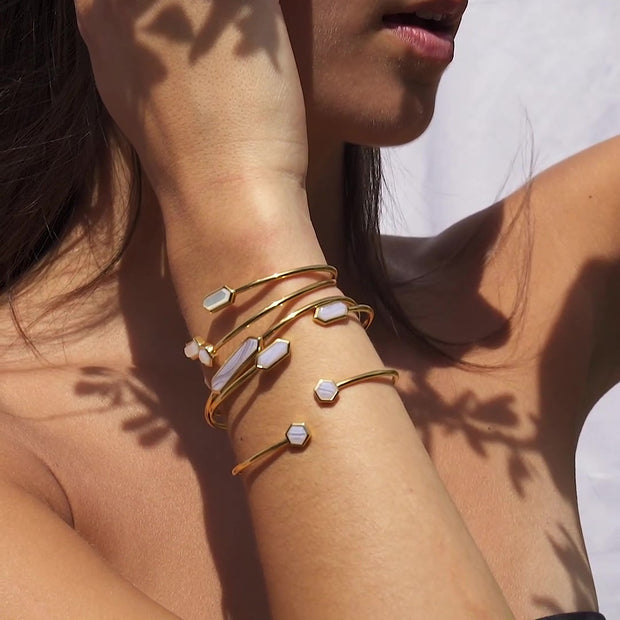 Geometric Hexagon Mother of Pearl Bangle in Gold Plated Sterling Silver