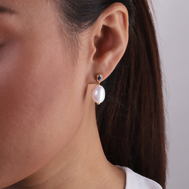 Modern Baroque Pearl & Sapphire Drop Earrings in Gold Plated Sterling Silver Model Image
