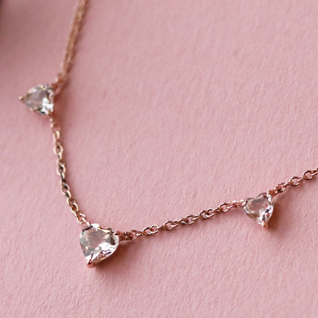 Morganite Heart Necklace in 9ct Rose Gold