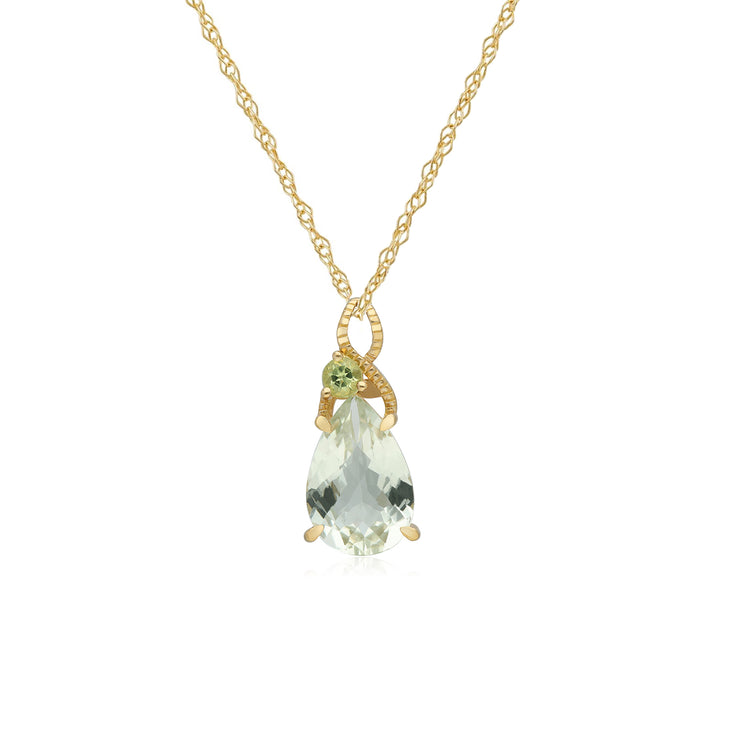 Kosmos Quartz & Peridot Pendant in 9ct Yellow Gold