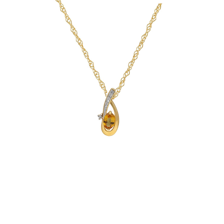 Kosmos Oval Yellow Sapphire and Clear Topaz Pendant in 9ct Yellow Gold