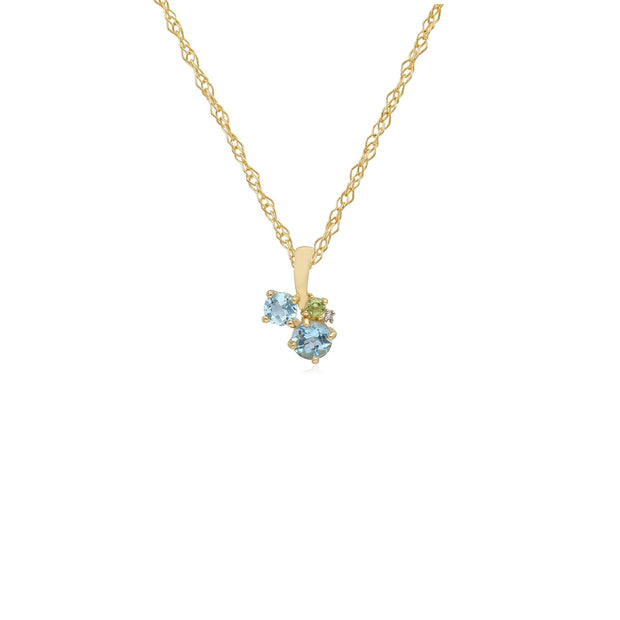 Kosmos Diamond, Topaz & Peridot Contemporary Cluster Pendant in 9ct Yellow Gold